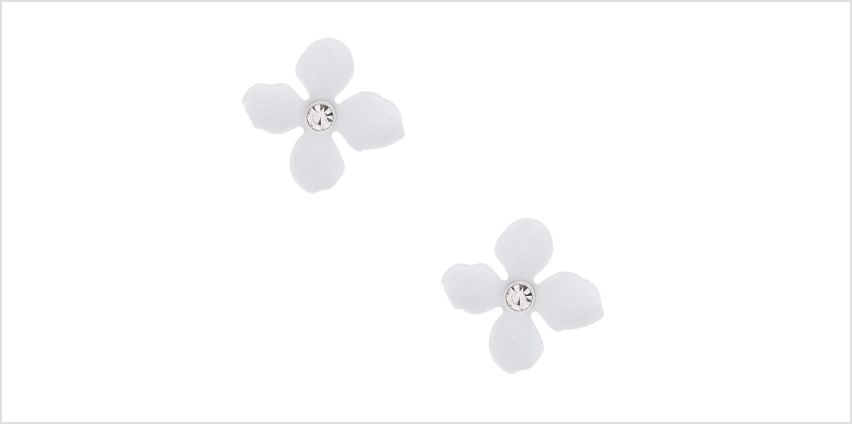 Go to Product: Silver Crystal Flower Stud Earrings - White from Claires