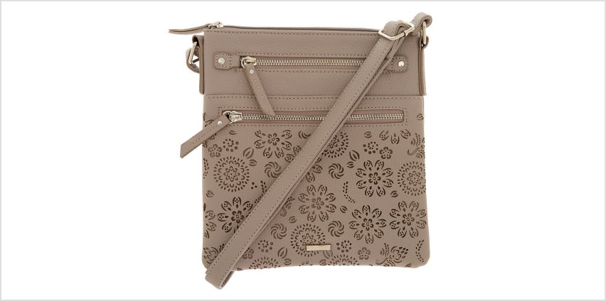 Go to Product: Filigree Cut Perforated Midi Crossbody Bag - Grey from Claires