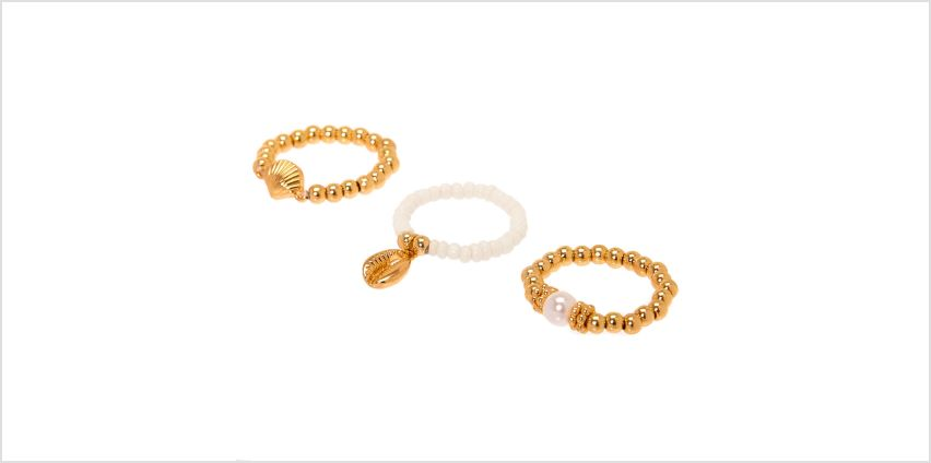 Go to Product: Gold Shell Stretch Rings - 3 Pack from Claires