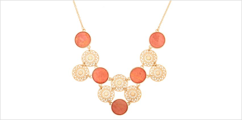 Go to Product: Gold Filigree Disk Statement Necklace - Coral from Claires