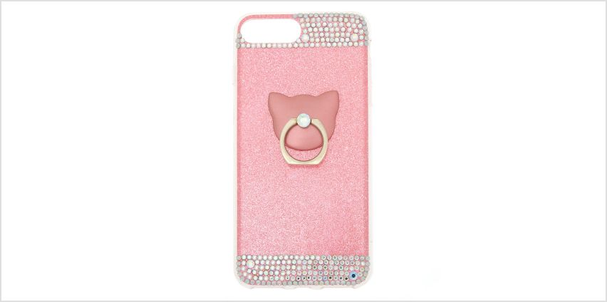 Go to Product: Pink Glitter Cat Ring Stand Phone Case - Fits iPhone 5/5S from Claires