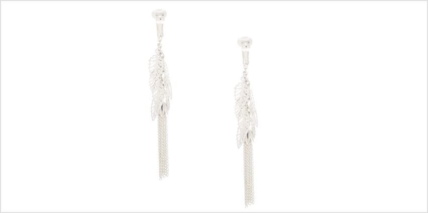 """Go to Product: Silver 3"""" Filigree Leaf Clip On Drop Earrings from Claires"""
