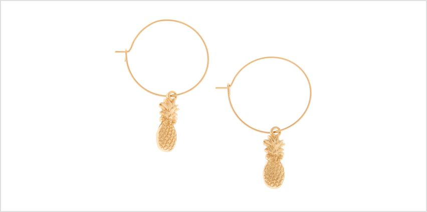 Go to Product: Gold 20MM Pineapple Charm Hoop Earrings from Claires