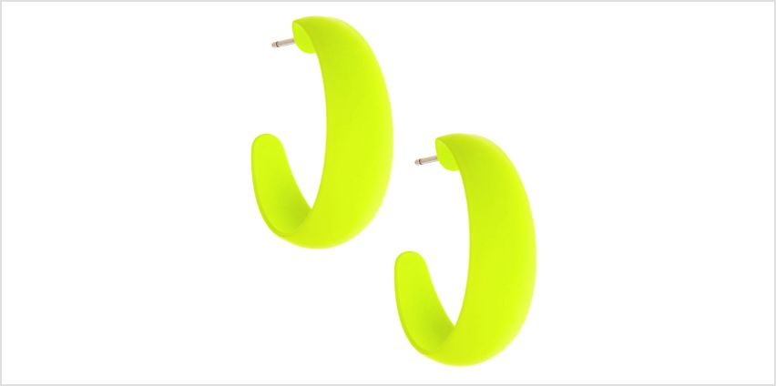 Go to Product: 25MM Rubber Hoop Earrings - Neon Yellow from Claires
