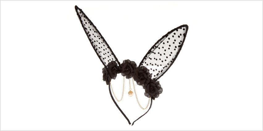 Go to Product: Floral Polka Dot Bunny Ears Headband - Black from Claires