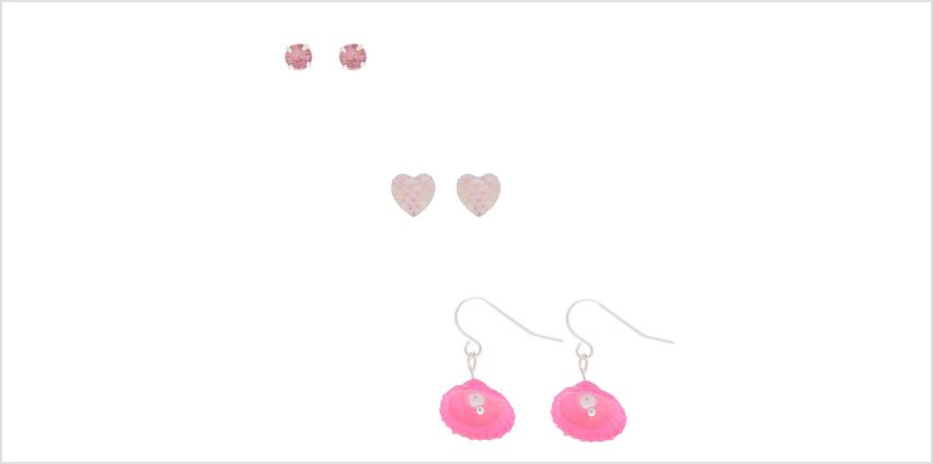 Go to Product: Silver Under the Sea Mixed Earrings - Pink, 3 Pack from Claires