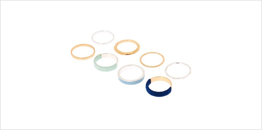 Go to Product: Mixed Metal Thread Wrapped Rings - Blue, 8 Pack from Claires