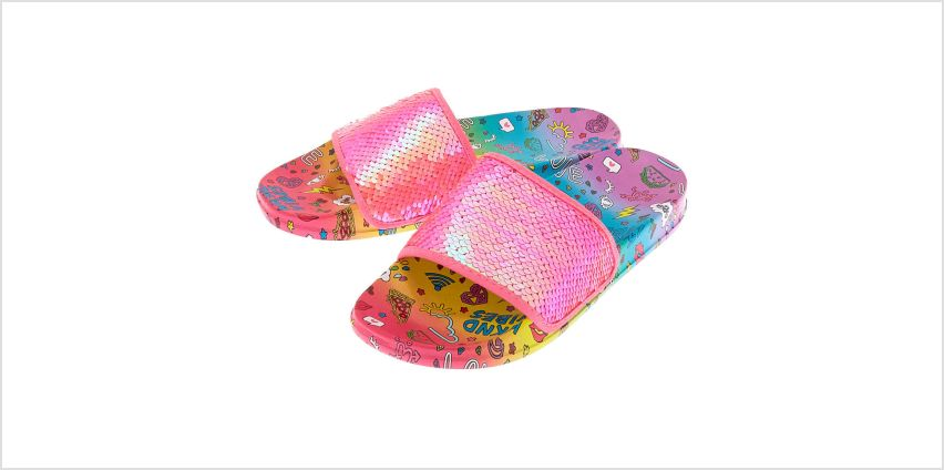 Go to Product: Sequin Doodle Slide Sandals - Pink from Claires