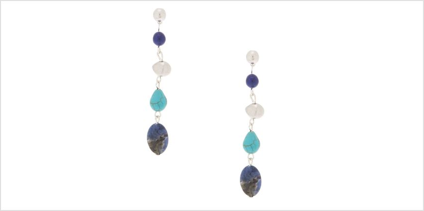 "Go to Product: 2.5"" Natural Stone Drop Earrings - Blue from Claires"