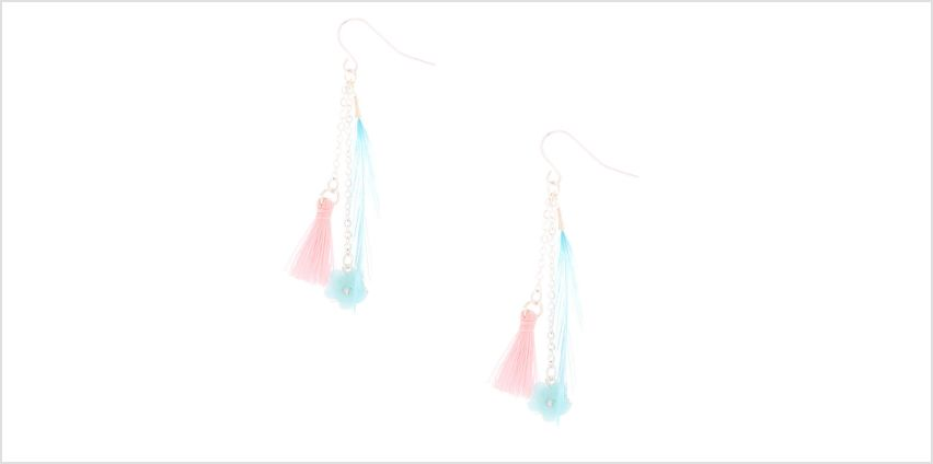 """Go to Product: 1.5"""" Floral Feather Drop Earrings from Claires"""
