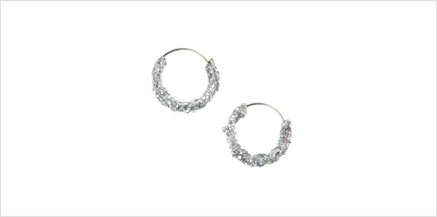 Go to Product: Silver 10MM Glitter Hoop Earrings from Claires