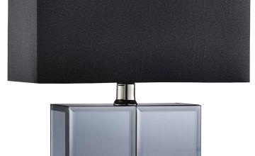 Smoked Mirror Black Table Lamp