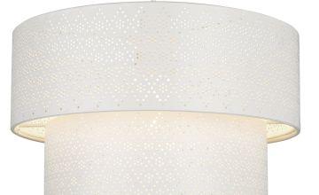 Cream 2 Tier Easy Fit Fretwork Drum Light Shade