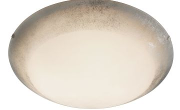 Ceiling Flush White Glass Shade with Silver Trim