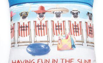 Fun in the Sun Pug Cushion Cover