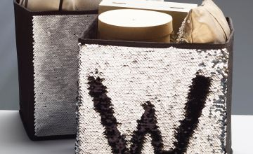 Set of 2 Two-Tone Sequin Storage Boxes