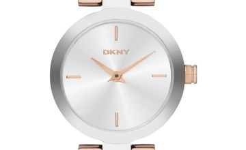 DKNY Two Tone Steel Bangle Watch