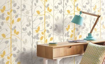 Woodland Grey and Yellow Wallpaper