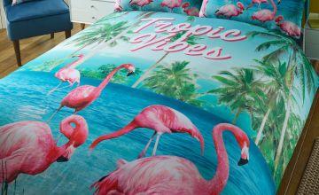 Flamingo Tropical Vibes King Size Duvet Set