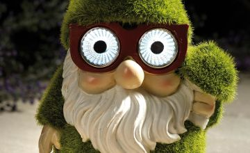 Flocked Solar Garden Gnome Ornament