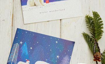 10 Glitter Polar Bears Christmas Cards