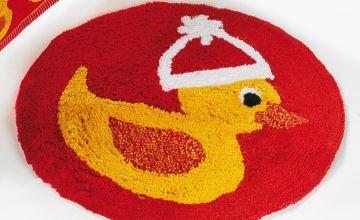 Christmas Duck Round Bathmat