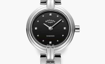 Rotary Ladies Diamonds Black Dial Stainless Steel Bracelet Watch