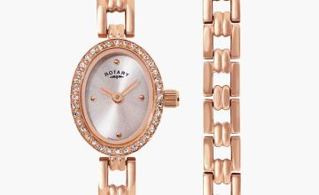 Rotary Rose Gold Plated Watch and Bracelet Gift Set