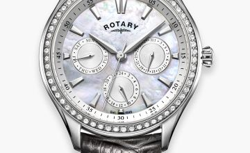 Rotary Ladies Hampstead Glitzy Grey Leather Strap Watch