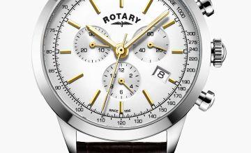 Rotary Gents White Cambridge Chronograph Quartz Watch
