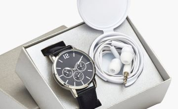 Black Faux Leather Watch and Black Headphones Gift Set
