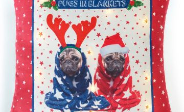 Pugs in Blankets Light Up Cushion