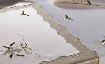 14-Piece Gold Poinsettia Embroidered Table Set