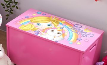 Princess Wooden Toy Box with Lift Lid