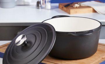 24cm Cast Iron Black Casserole Pot