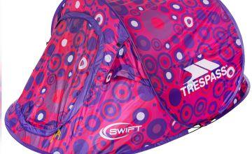 Trespass Swift Pop Up Tent Pink Spots