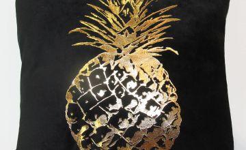 Black Velvet Cushion with Gold Pineapple