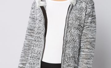 Faux Fur Trim Cable Cardigan