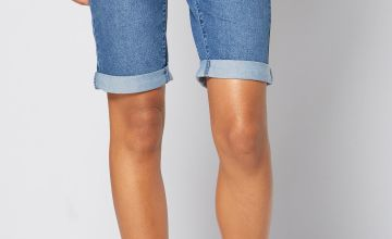 Longline Denim Turn Up Shorts
