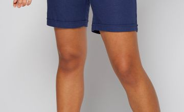 Linen Rib Waist Knee Length Short