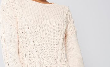 Chunky Cable Knit Faux-Pearl Embellished Jumper