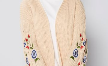 Embroidered Sleeve Chunky Cardigan