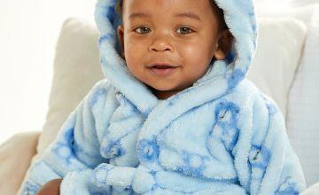 Babys Printed Bear Robe