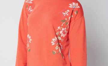 Rubber Print Floral Sweater