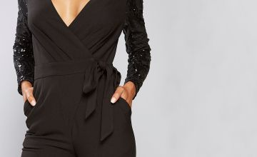 Little Mistress Wrap Sequin Sleeve Jumpsuit