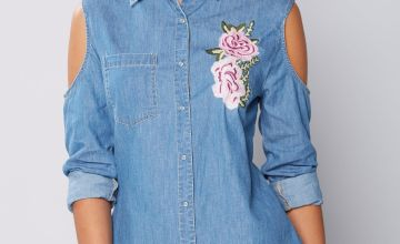 Denim Embroidered Cold Shoulder Shirt