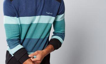 Pierre Cardin Crew Neck Colour Block Knit Jumper