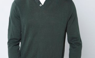 Pierre Cardin Button Up Mock T-Shirt Knitted Jumper