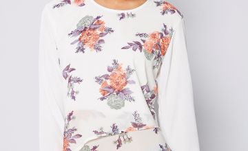 White Floral Layered Dip Back Top