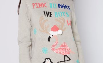 Christmas Flamingo Jumper